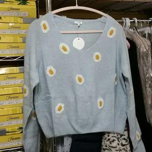 En Creme Sweaters - V Neck Floral Print Knit Sweater
